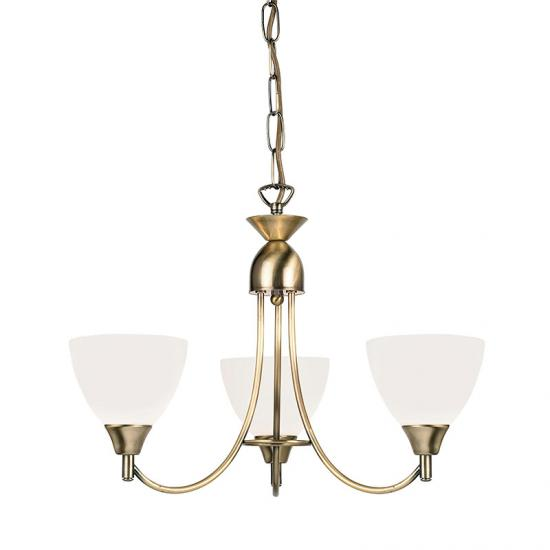 106-001 Opal Glass with Antique Brass 3 Light Centre Fitting
