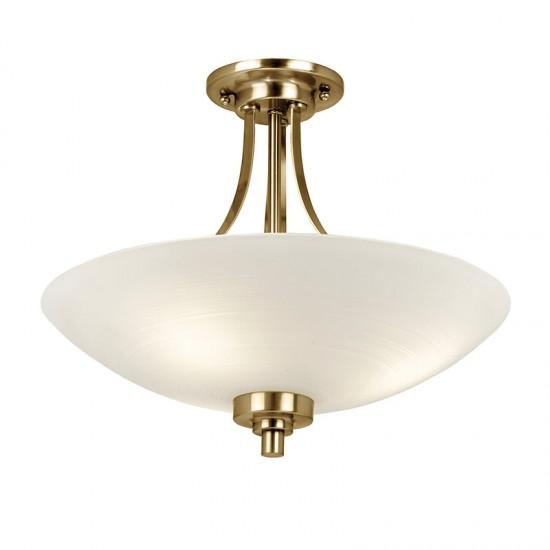 1192-001 White Glass with Antique Brass 3 Light Semi-Flush