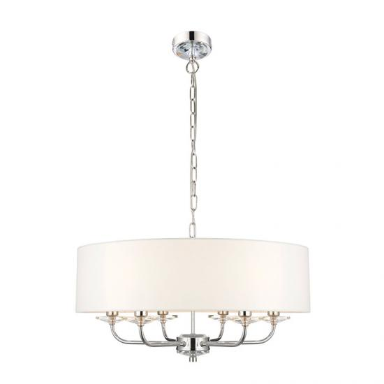 31628-001 White Shade & Nickel with Crystal 6 Light Pendant