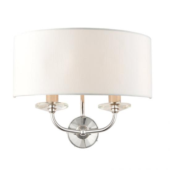 31629-001 White Shade & Nickel with Crystal Twin Wall Lamp