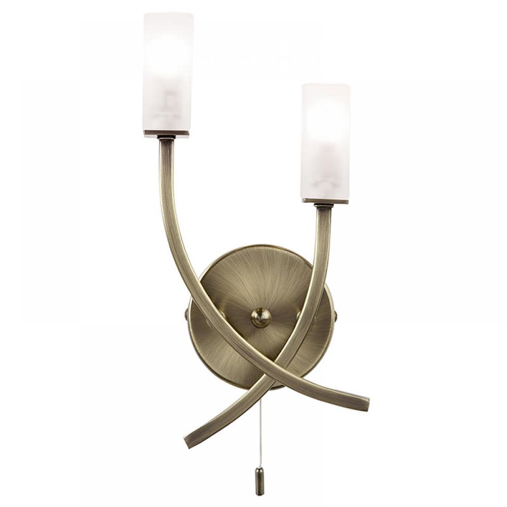 Antique Brass /& Frosted Glass Twin Wall Light with Pull Cord Switch