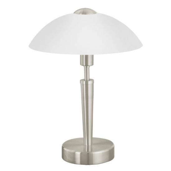 1727-002 White Glass with Satin Nickel Touch Table Lamp