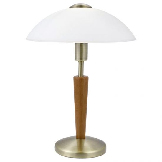 1872-002 White Glass with Wood and Brass Touch Table Lamp