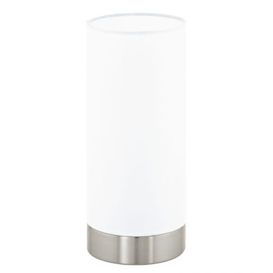 41038-002 White with Satin Nickel Touch Table Lamp