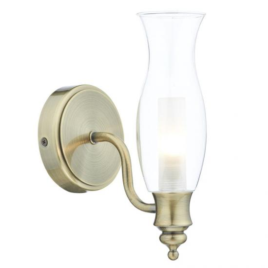20090-003 Bathroom Clear Glass and Antique Brass Wall Lamp