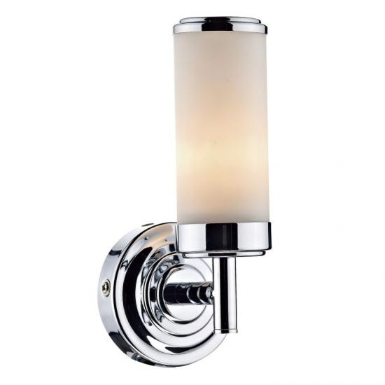 4298-003 Bathroom Frosted Glass and Chrome Single Wall Lamp