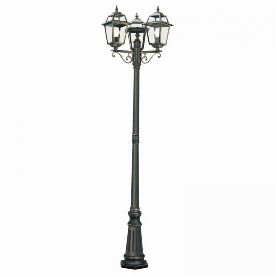 8410-006 Outdoor Black & Gold with Glass 3 Light Post