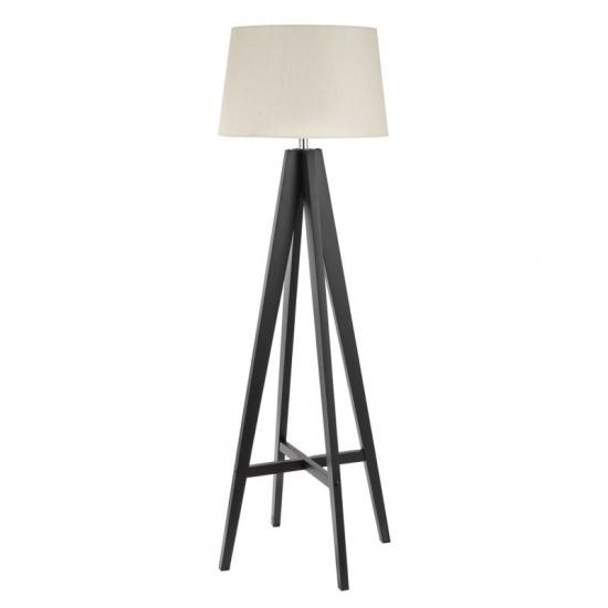 8787-006 Cream with Dark Wood Tripod Floor Lamp