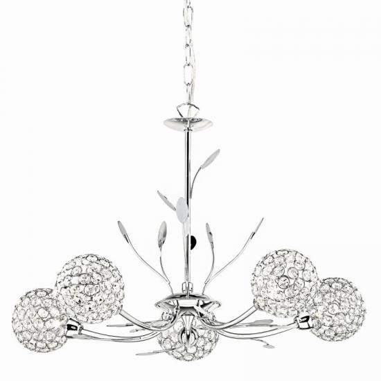 9099-006 Crystal & Chrome with Leaf 5 Light Centre Fitting