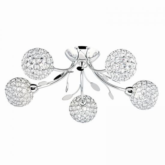 9221-006 Crystal & Chrome with Leaf 5 Light Ceiling Lamp