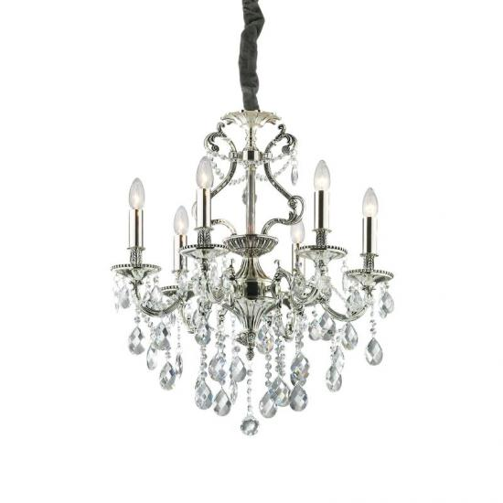 10123-007 Crystal and Antique Silver 6 Light Chandelier