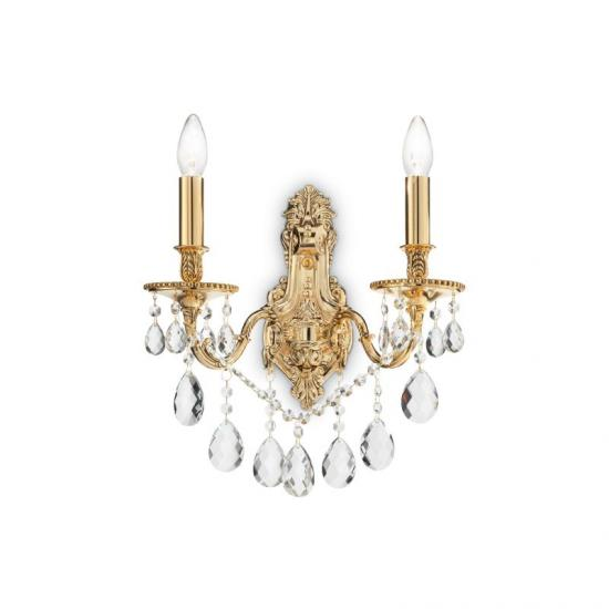 10122-007 Crystal and Gold Twin Wall Lamp