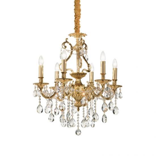 10124-007 Crystal and Gold 6 Light Chandelier