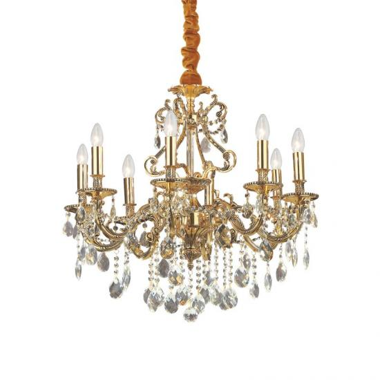 10126-007 Crystal and Gold 8 Light Chandelier