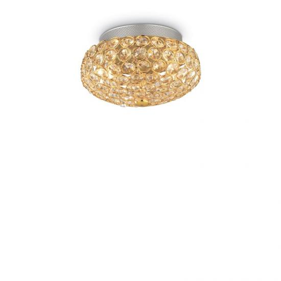 10166-007 Crystal with Gold 3 Light Ceiling Lamp