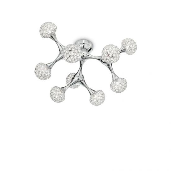 23244-007 Crystal Globes with Chrome 9 Light Ceiling Lamp