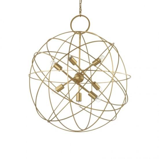 44113-007 Gold Metal Circular 7 Light Hanging Pendant