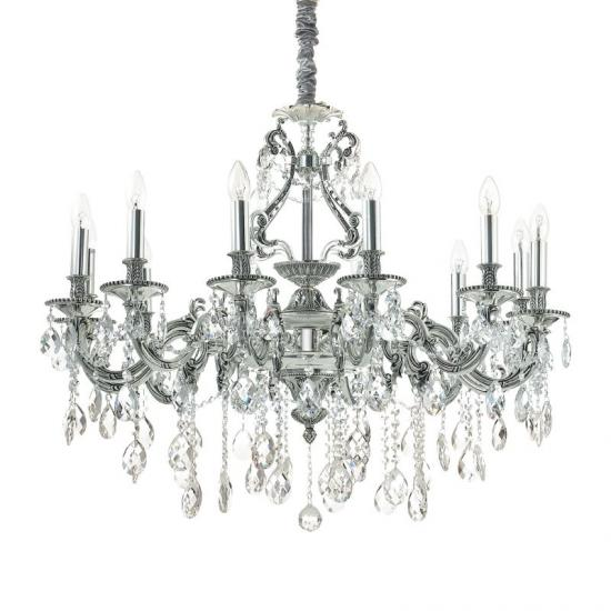 44064-007 Crystal and Antique Silver 12 Light Chandelier