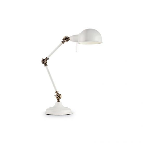 913007-007 Adjustable White with Brass Desk Lamp