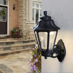 IP-44 BLACK HEXAGONAL WALL LANTERN 9218-9754-008
