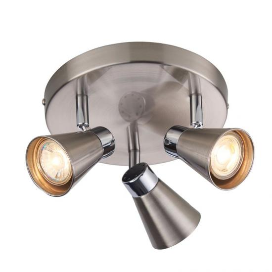 50802-001 Satin Nickel & Chrome Round 3 Light Spotlights