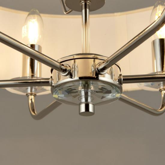 31624-001 White Shade & Nickel with Crystal 3 Light Pendant