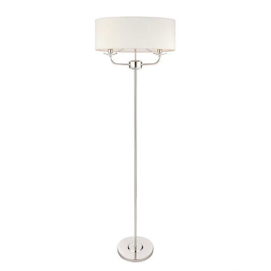 31671-001 White Shade & Nickel with Crystal 2 Light Floor Lamp