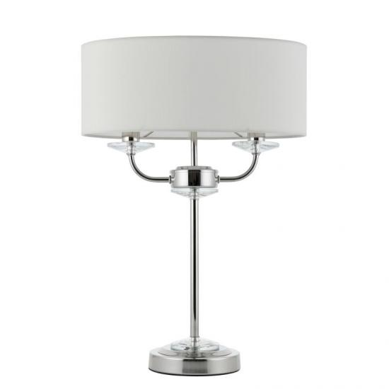 31672-001 White Shade & Nickel with Crystal 2 Light Table Lamp