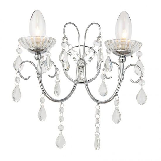 31833-001 Bathroom Crystal with Chrome Twin Wall Lamp