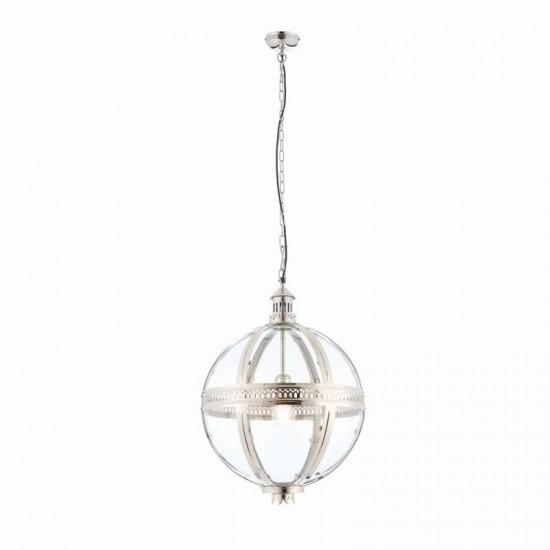 64700-001 Clear Glass & Bright Nickel Big Lantern Pendant