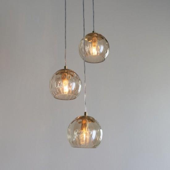 64701-001 Amber Glass & Brushed Gold 3 Light Cluster Pendant