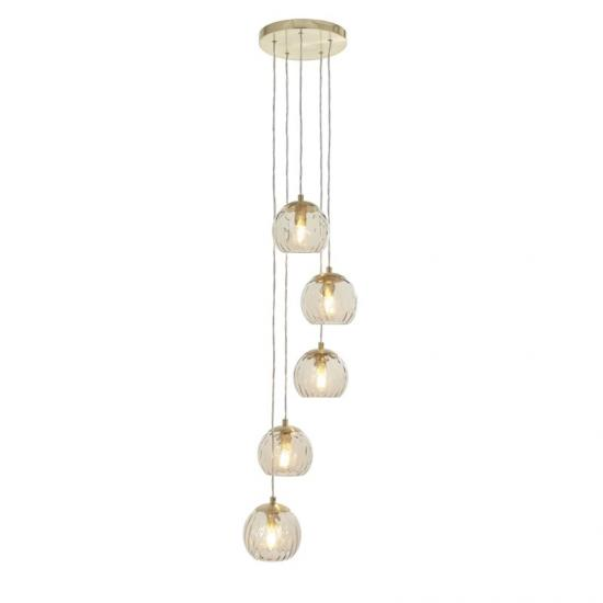 64702-001 Amber Glass & Brushed Gold 5 Light Cluster Pendant