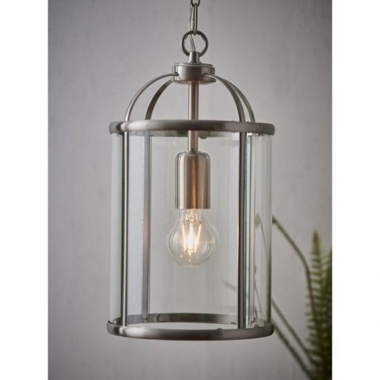 7404-001 Satin Nickel with Glass Single Lantern Pendant
