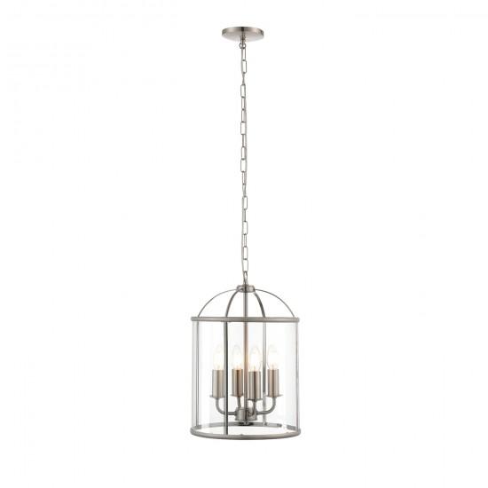 61283-001 Satin Nickel with Glass 4 Light Lantern Pendant