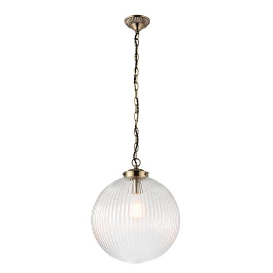 7444-001 Antique Brass with Clear Ribbed Glass Big Pendant