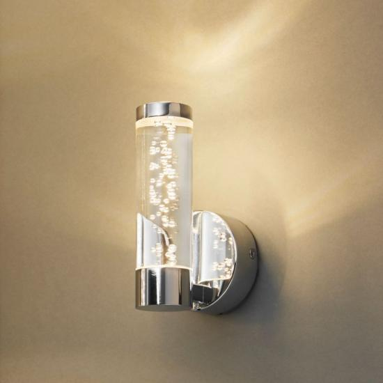 21330-001 Clear Shade with Bubble & Chrome Single Wall Lamp
