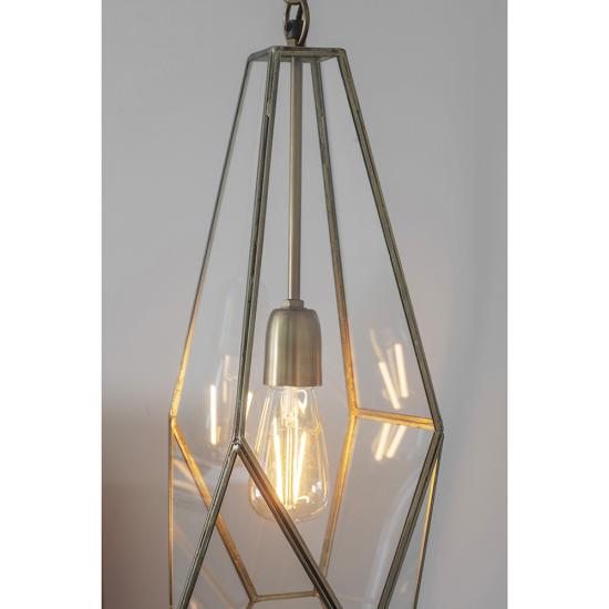 21485-001 Antique Brass with Glass Lantern Pendant