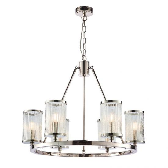 50775-001 Ribbed with Bubble Glass 6 Light Hanging Pendant
