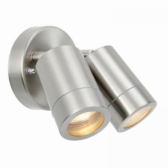 54580-001 Brushed Stainless Steel Twin Spot Wall Lamp