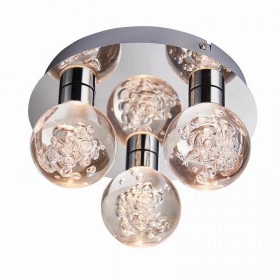 50862-001 LED Polished Chrome with Globe 3 Light Ceiling Lamp
