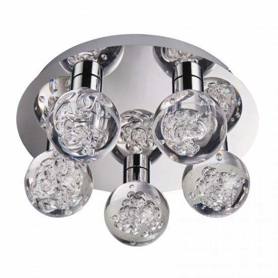 50863-001 LED Polished Chrome with Globe 5 Light Ceiling Lamp