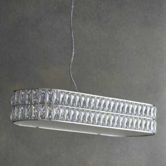 50910-001 Crystal and Frosted Diffuser over Island Fitting