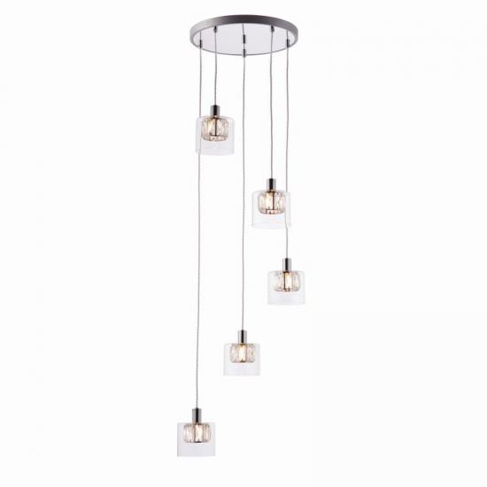 50914-001 Crystal and Clear Glass Diffuser 5 Light Cluster Pendant