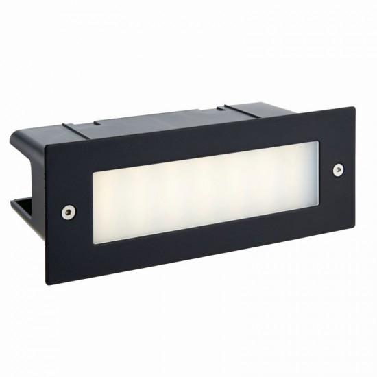 54741-001 LED 4000K Black & Frosted Glass Brick Light