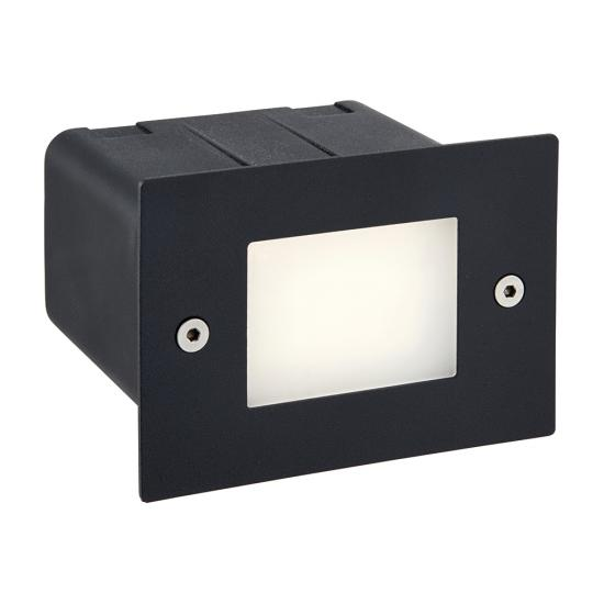 54746-001 LED Black & Frosted Glass Half Brick Light