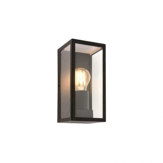 54409-001 Matt Black with Clear Glass Lantern Wall Lamp