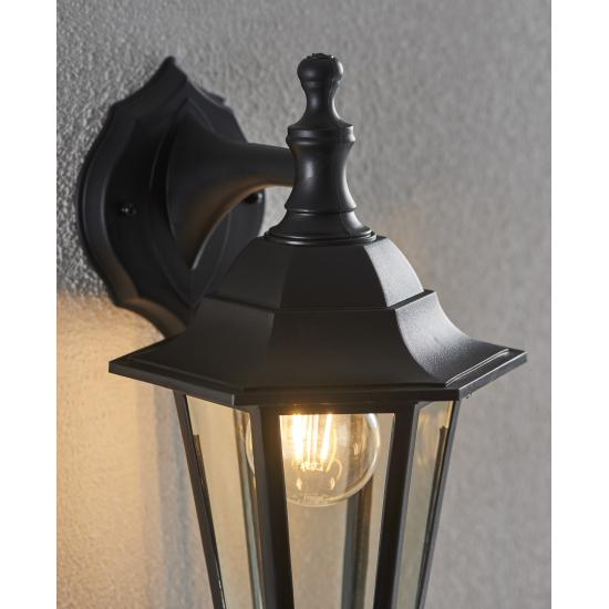 741-001 Black with Glass Up or Downlight Lantern Wall Lamp