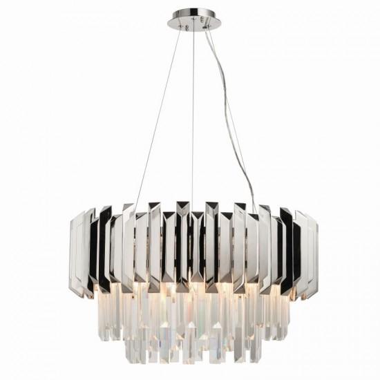 50882-001 Crystal & Polished Nickel 6 Light Chandelier