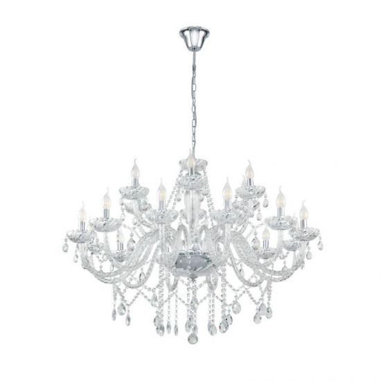19040-002 Crystal with Chrome 18 Light Chandelier