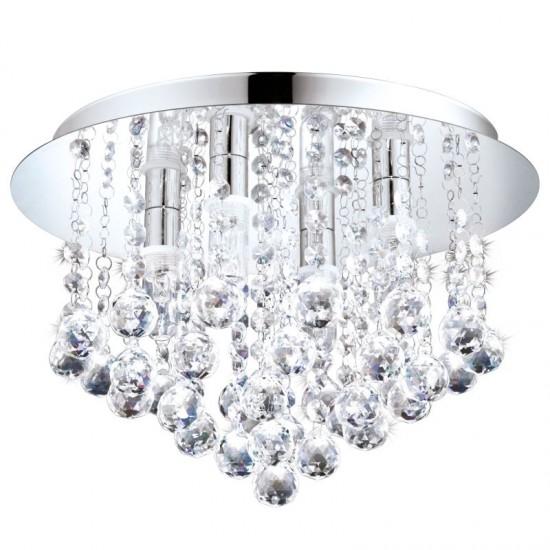 41057-002 Crystal & Chrome 4 Light Ceiling Lamp